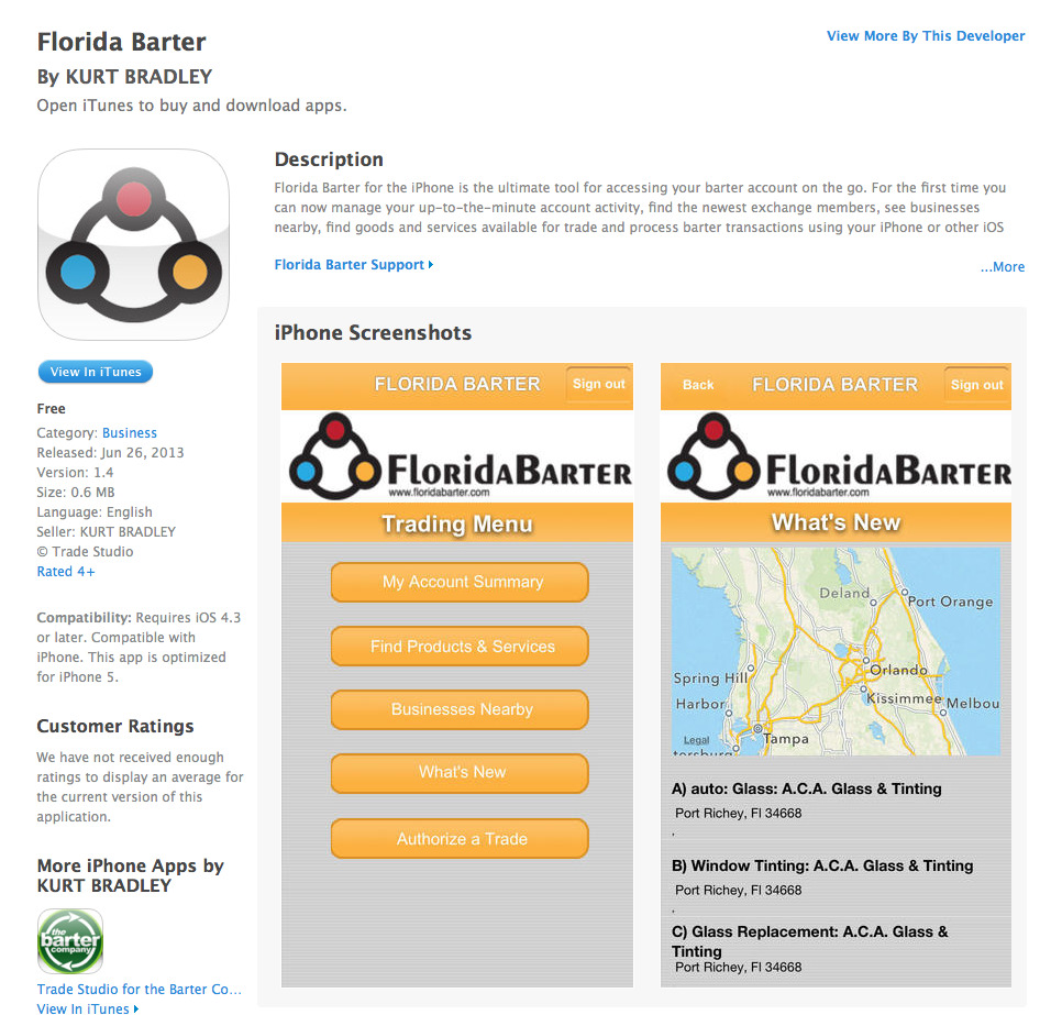 Trade Studio for Florida Barter